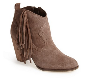 Fringe was all over the runway this fall. If you don't think you can pull off  a fringe skirt, start with a pair of booties like these and work your way up.