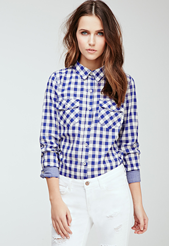 No, you won't look like Dorothy or a picnic blanket. Gingham keeps things clean and cut. Pair this shirt with something white and you're ready for a beautiful spring day.
