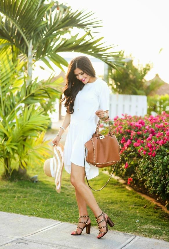 topshop white dress, valentino rockstud sandals, valentino rockstud bag, floppy hat, emily gemma blog, spring fashion 20152