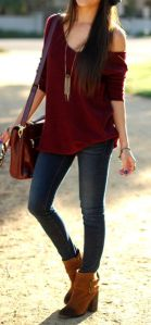 If you choose to wear skinny jeans, pair them with brown booties. Again, they make your legs look longer and are another way to incorporate fall colors.
