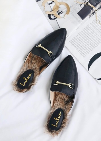 Antonia Black Faux Fur Loafer Slides from Lulus $27